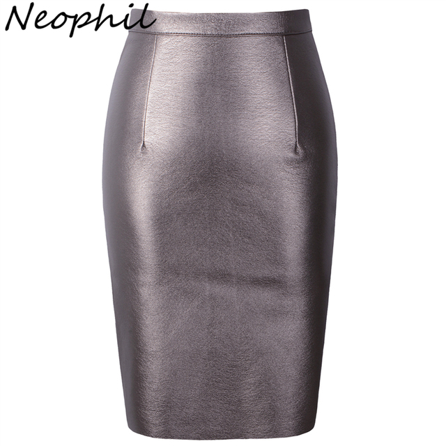 Neophil 2017 Sexy Faux Fur Leather Pu High Waist Midi Women Pencil Skirts Pink Office Wrap Bodycon Short Girls Tutu Saia S08019