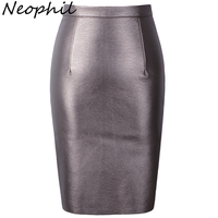 Neophil 2016 Sexy Faux Fur Leather Pu High Waist Midi Women Pencil Skirts Pink Office Wrap