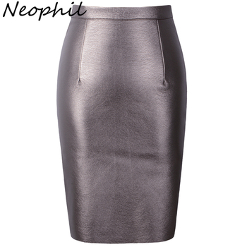 651ff555ff Neophil 2019 Sexy Faux Fur Leather Pu High Waist Midi Women Pencil Skirts  XXL Office Wrap Bodycon Short Girls Tutu Saia S08019