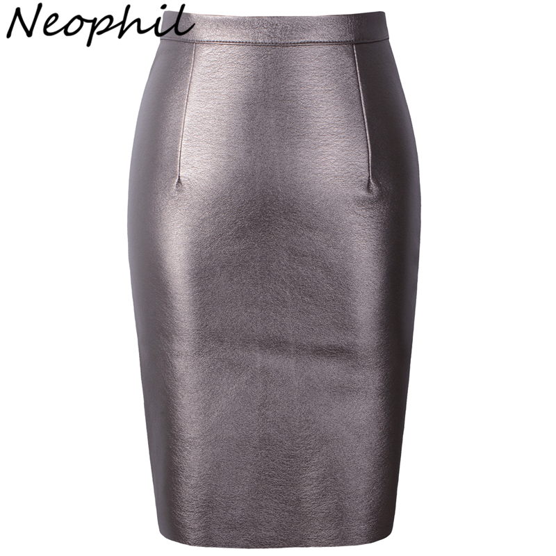 Neophil 2019 Winter Sexy Faux Fur Leather Pu High Waist Midi Women Pencil Skirts XXL Office Bodycon Short Girls Tutu Saia S08019