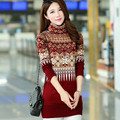 2017 Autumn and winter women 's warm long high - necked thick sweater cashmere cultivation bottoming package hip sweater dress