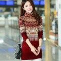 2017 de Otoño e invierno de las mujeres de largo cuello alto suéter grueso cashmere cultivo cadera del paquete de tocar fondo vestido de suéter