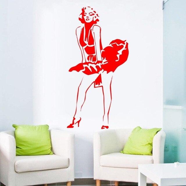 Free Shipping Marilyn Monroe Wall Decal Sticker Dress Modern Decor ...
