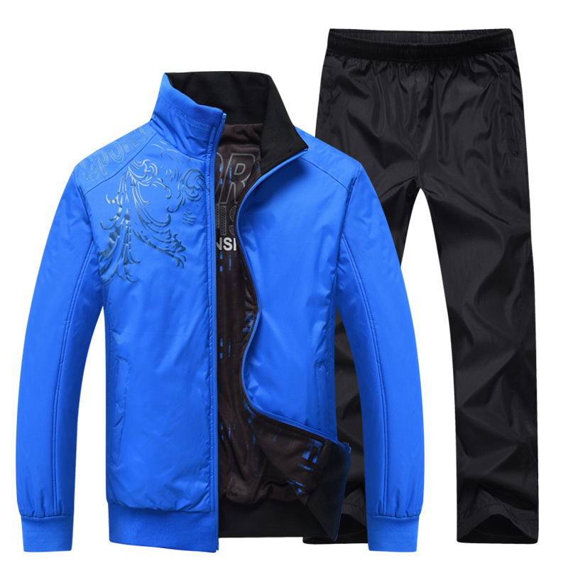 ФОТО Wholesale-Men jacket black&blue reversible Sportswear suit men Full Tracksuit Set men Zipper Running Set Bottoms Stretch