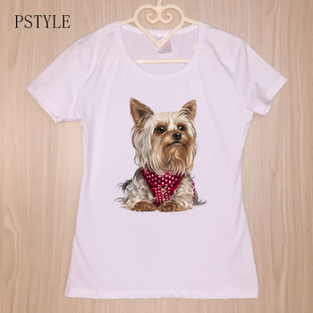 Kawaii tshirt Yorkshire Terrier Printing Women T Shirt Harajuku Short Sleeve Dog Design White Tees Camisetas for Girls Top