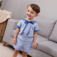 British Princess Dress Children Cotton Short Sleeve Girls Dress Navy Wind Boys Shirt+Pants Sister and Brother Clothes to school