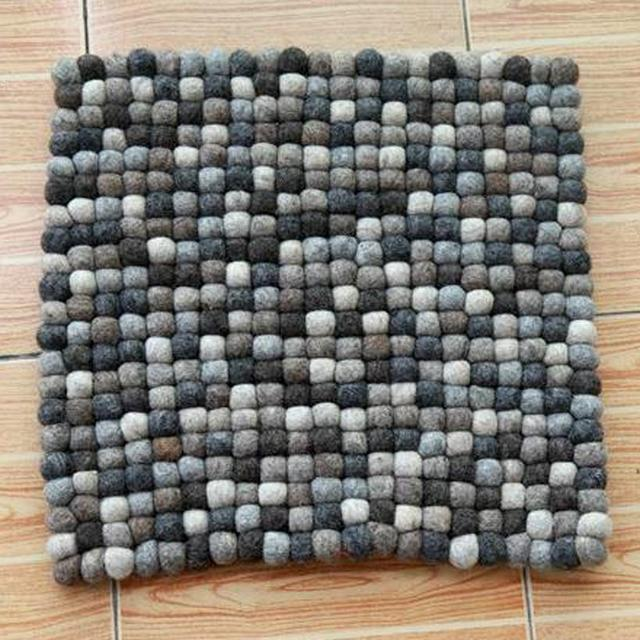 PINJEAS 40cm Round Square Shape Handmade Cushion Mat Wool Felt Ball Rug  Natural Hand Crafted In