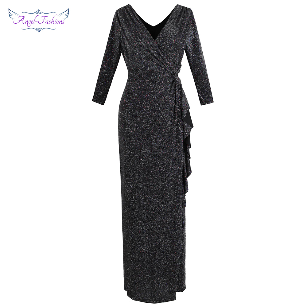 Angel-fashions Women's 3/4 Sleeve   Evening     Dress   Long Pleated Ruffle Slit Maxi Party Gown Black Elegance 445