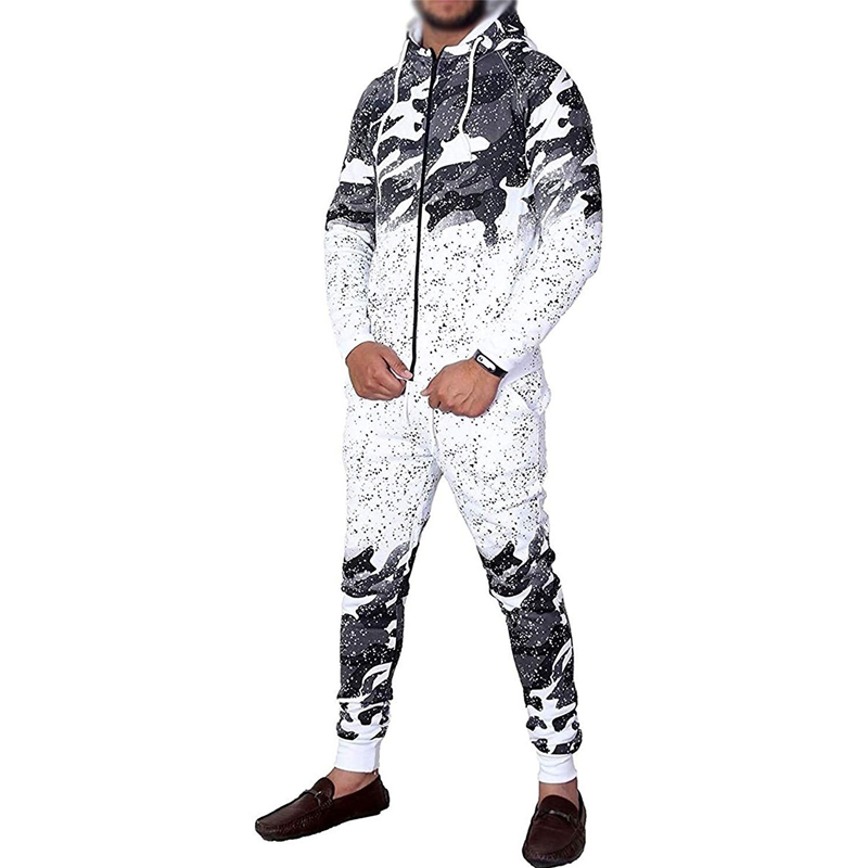 ZOGAA Men's Tracksuit Casual Camouflage Fashion Sportswear Men Outfits 2 Piece Set Zipper Hoodies And Pants Sweat Suit Set