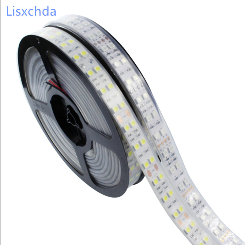 New Double Row LED Strip 5050 DC12V Silicone Tube Waterproof Flexible Strip Warm white/Red/Blue/Green/Yellow/ white RGB 5m/lot auxmart triple row led chips 12 led