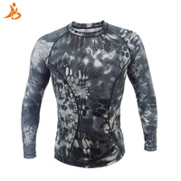 High Elastic Running T Shirt Men Long Sleeve Camouflage Army Green Tank Top Gym Sport Clothing