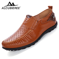 Luxury Designer Sneakers Men Genuine Leather Shoes Slip On Moccasins Loafers Men Leather Casual Shoes Summer
