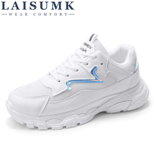 LAISUMK Women Spring/Autumn White Shoes Sneakers Fashion Brand Retro Platform Ladies Footwear Breathable Mesh