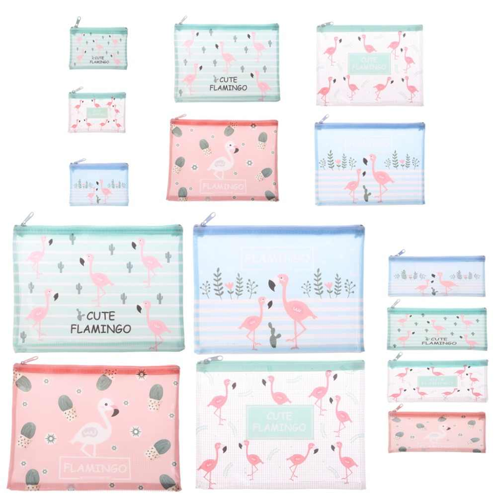 Lovely Flamingo A4 A5 B6 File Bag Folder Portable Document Pouch Zip UP Easily