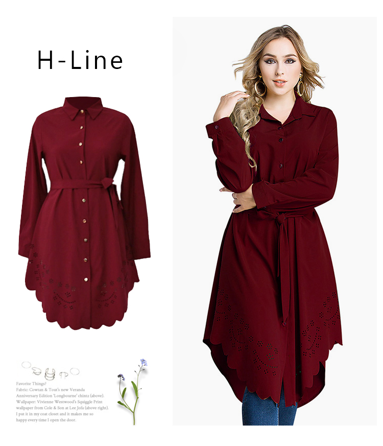 Ryeon Shirt Dress Plus Size Autumn Spring Casual Women Dress Big Size Cut  Out Long Sleeve Loose Sashes Office Dress 4xl 5xl 6xl 92b5fd73e0b2