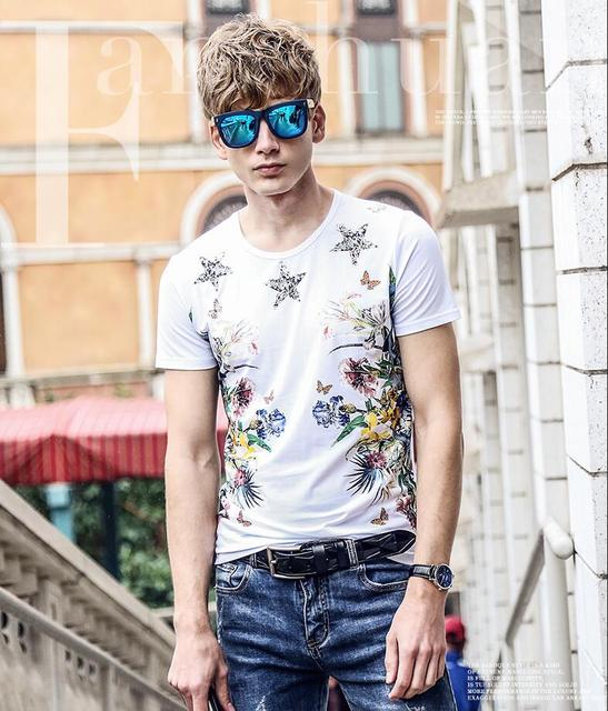 da3b0750d99 FanZhuan New free shipping 2017 summer youth men s male fashion flower color  popular short sleeved T-shirt printing slim 715129