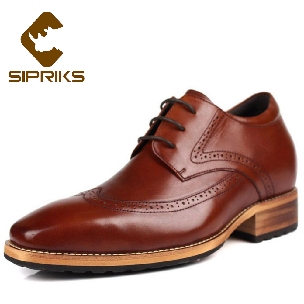 Sipriks Brown Leather Hidden Heel Shoes Men Oxfords Elevator 8 CM Boss Male Retro Brogue Shoes Elegant Black Gents Suit Shoes