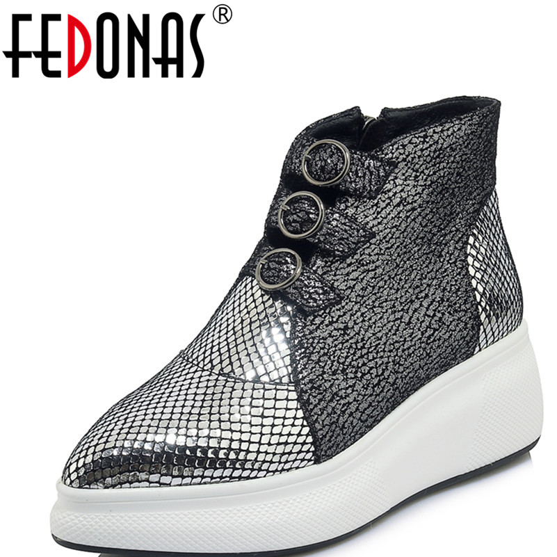 FEDONAS New Women Ankle Boots Genuine Leather Wedges High Heels Shoes Casual Autumn Winter Warm Flats
