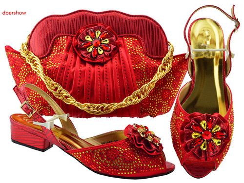 doershow Fashion Italian Shoes With Matching Bags Set For Wedding And Party African Shoes And Bag Sets With Rhinestones PFG1-25 free shipping fashion woman italian matching shoes and bags set wedding party lady shoe and bag set with rhinestones mm10126