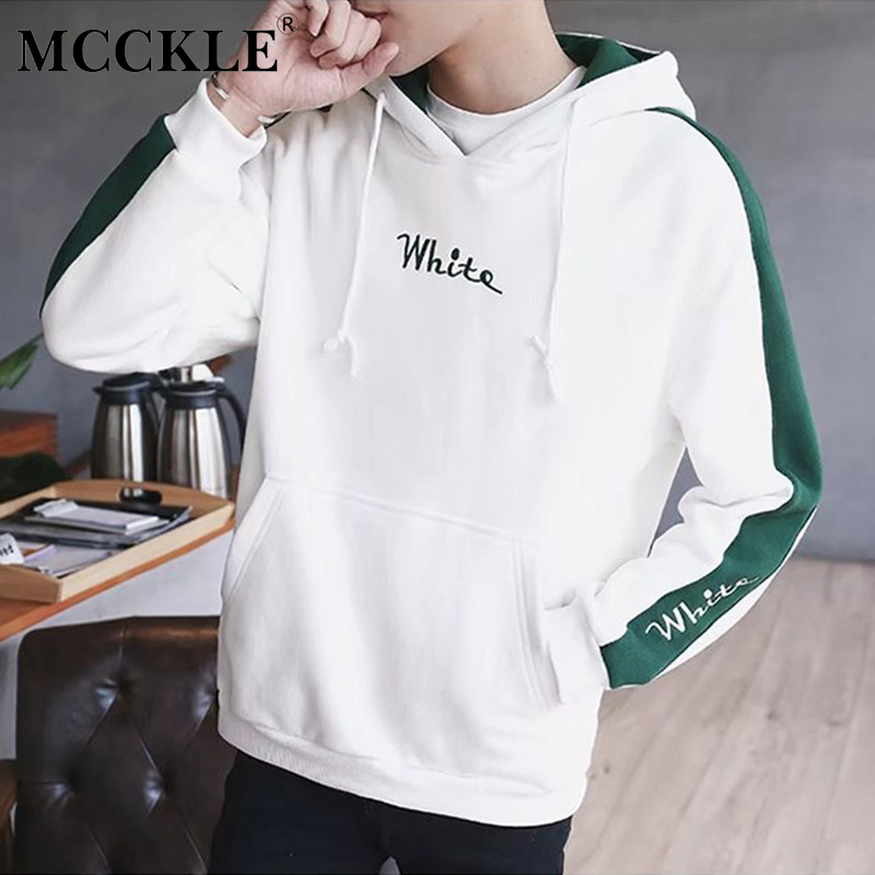 MCCKLE 2018 Spring Color Block Patchwork Brushed Hooded Jackets Men Hip Hop Hoodies Coats Male Casual Streetwear Outerwear