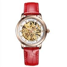 2017New Reloj Mujer Stylish Ladies Hollow Automatic Mechanical Watches Luxury Leather Womens Watch Wristwatches Relogio Feminino