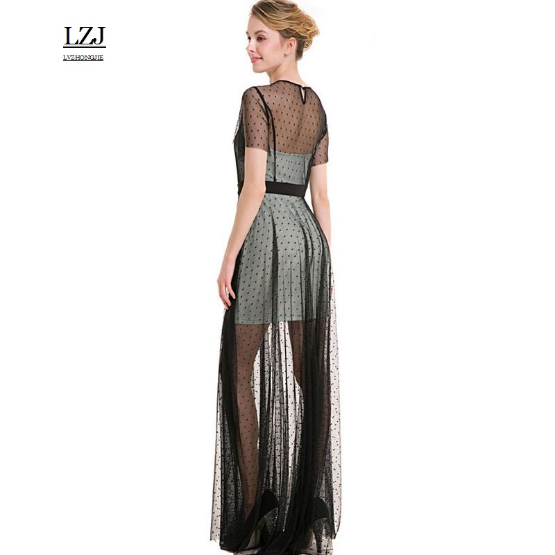 LZJ ladies summer sexy party dress short sleeve O collar lace mesh cloth wave point look through the dress vestido de festa size