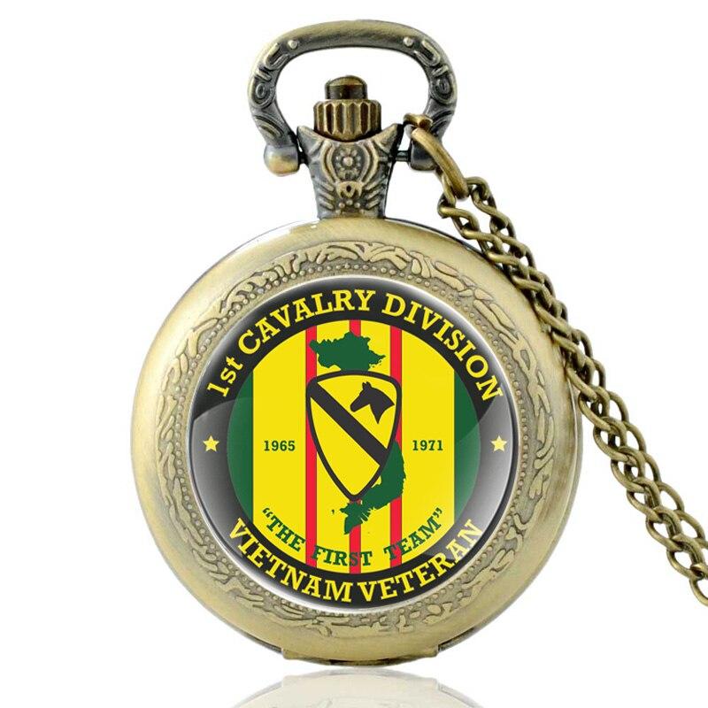 Antique Classic US 1st Cavalry Division Quartz Pocket Watch Vintage Bronze Vietnam Veteran Necklace Watches