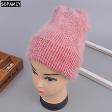 new arrival high-quality thick heat hats ladies knitted rabbit hair beanies for winter feminine style skullies informal ski caps