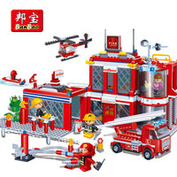 BanBao City Fire Station Firefighters Truck Copter Boat Building Blocks Educational Bricks Toys Model 8311 Children Kids Gifts