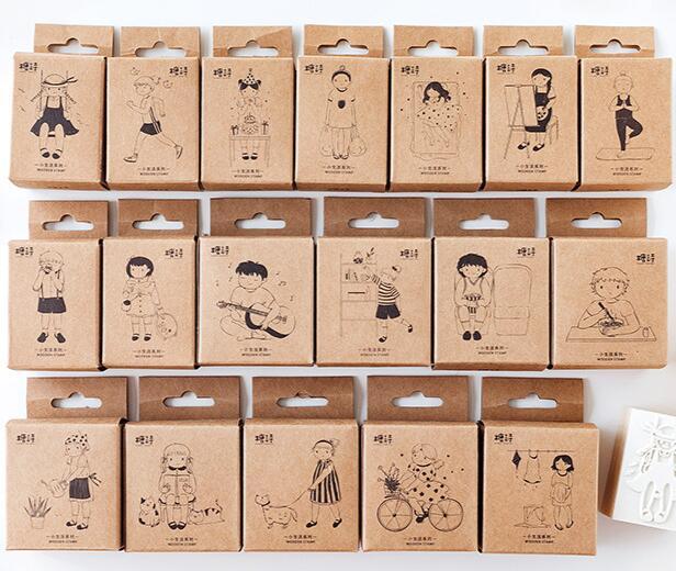 18 pièces/ensemble série de vie Simple rétro en bois tampons en caoutchouc pour Scrapbooking papeterie décorative livre laitier timbre Standard