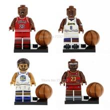 4 pçs set Legoingly Figure Set com Bola de Jogador de Basquete Michael  Stephen Modelo kits de Blocos de Construção de Tijolos Br.. 9aac4f611