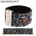 AZIZ BEKKAOUI 16 Colors Stone Wide Bangle Magnetic Clasp Bangle for Women Named Bracelet Cuff  Bracelets Engrave Customized Logo