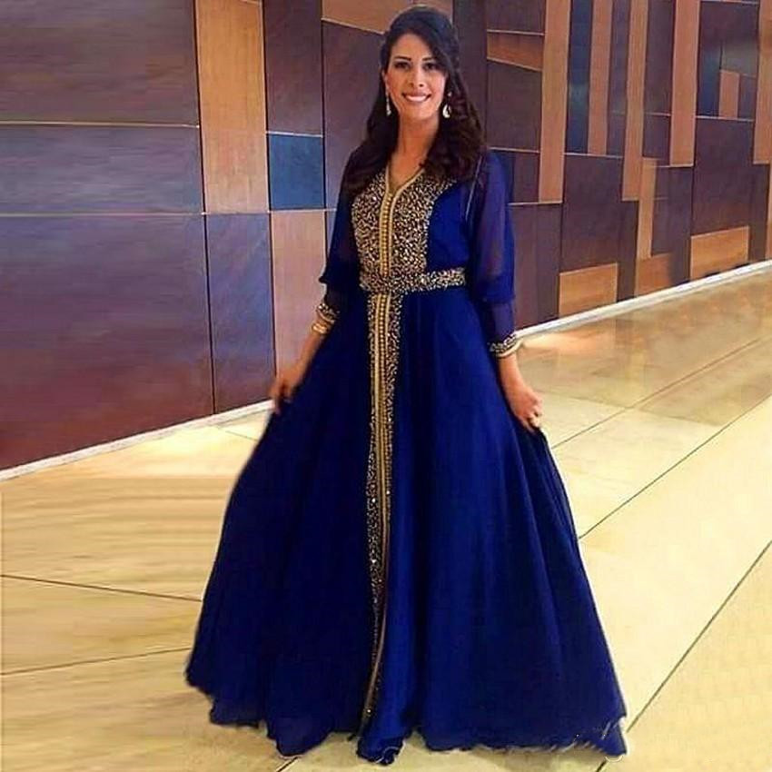 Luxury Sparkly Beaded robe de soiree Muslim Evening gown 2018 Formal Party Moroccan Royal Blue Prom Mother of the Bride Dresses