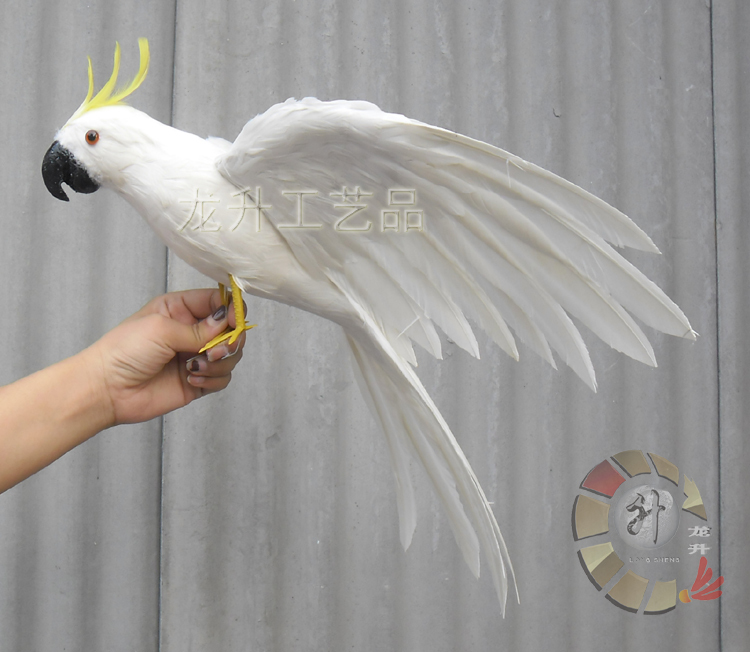 Grand 43x50 cm ailes écartantes plumes blanches Cockatoo perroquet oiseau modèle décoration maison cadeau de noël h1112