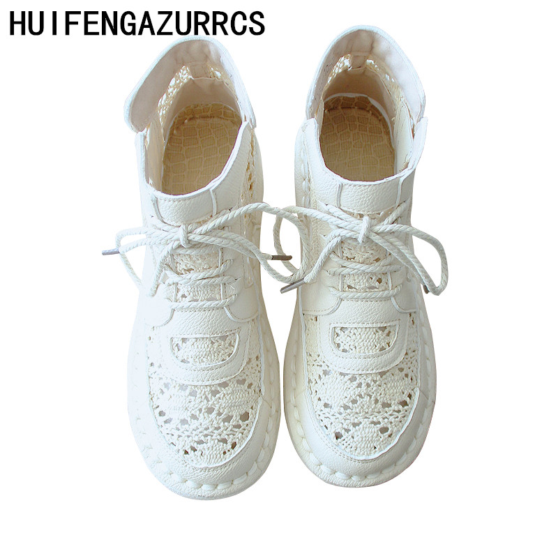 HUIFENGAZURRCS Cotton and hemp net boots Women s literary sandals vintage super soft sole comfortable breathable