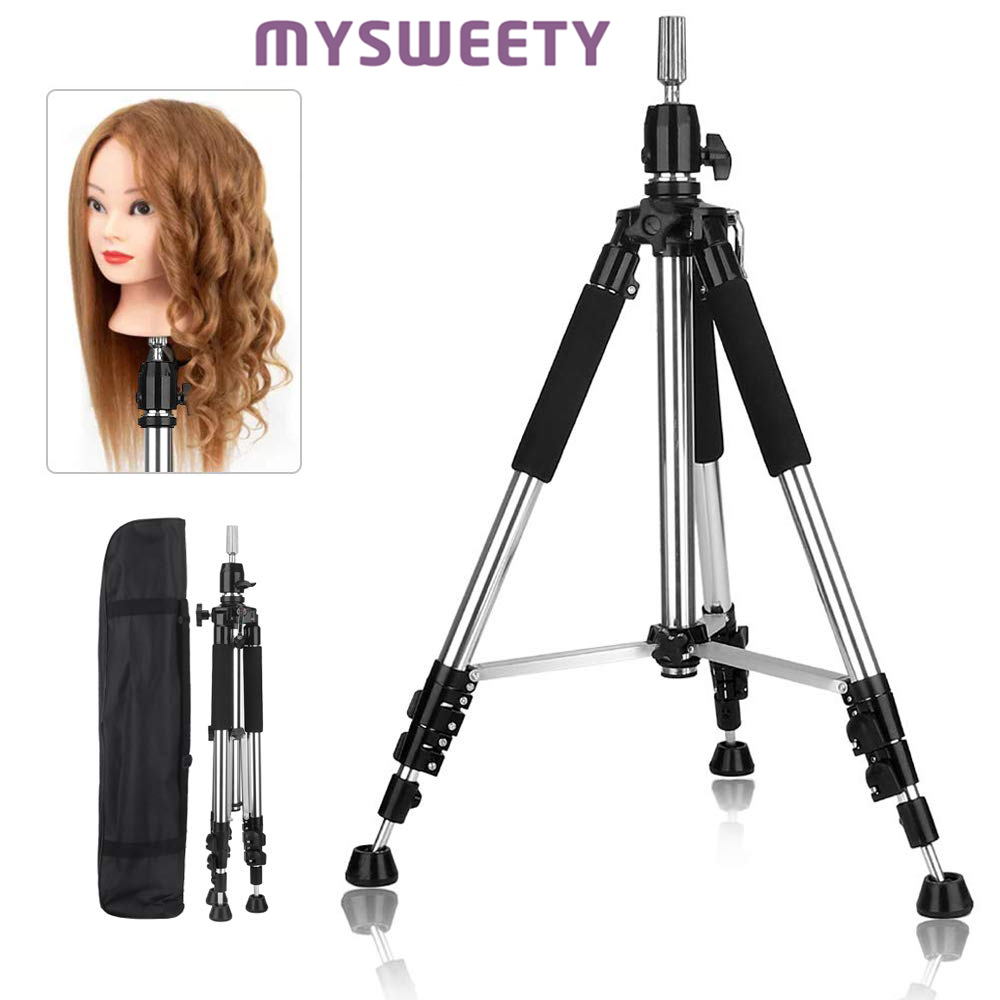 Tripod Stand  Enhanced Aluminum Adjustable Hairdressing Cosmetology Head Holder For Wigs Mannequin Head Or Household Items