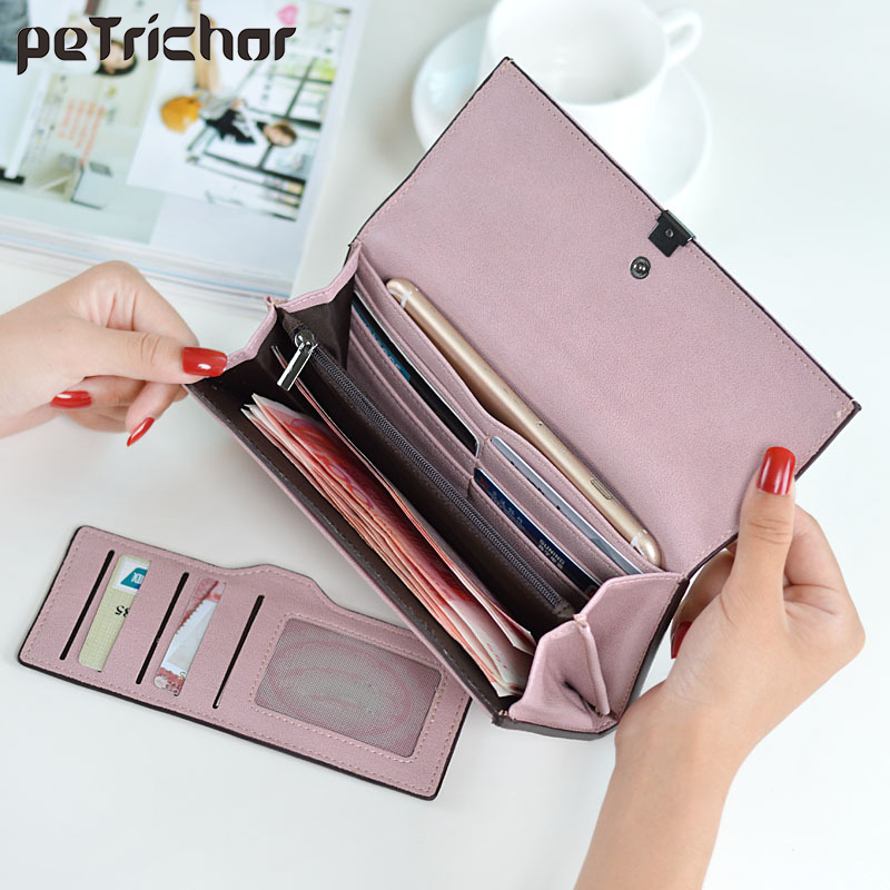 High Quality Women Long Wallets Letter Standard Hasp Money Purse Fashion Style Card Holder Synthetic Leather Clutch Bag Female 2