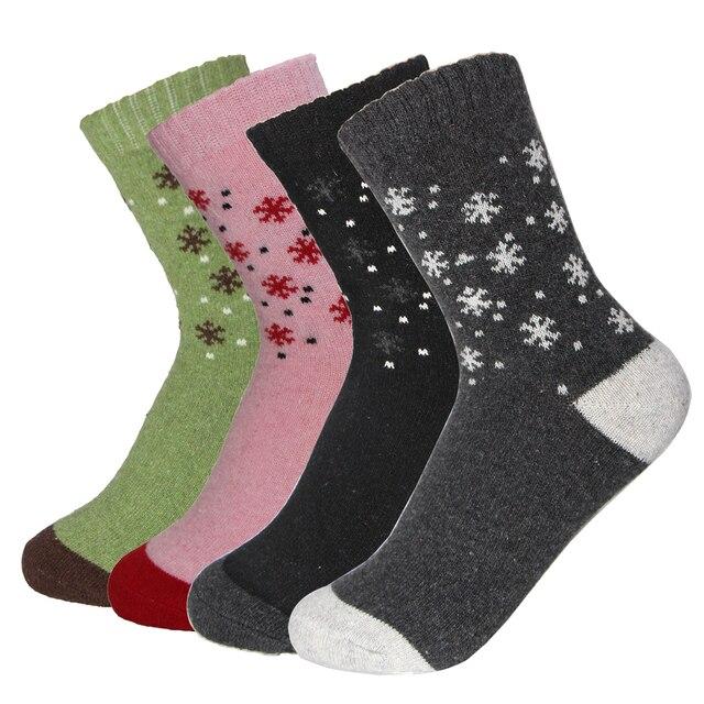 Rabbit Wool Material Women's Warm Socks Autumn Winter Comfortable Fashion Female Lovely Sweet Small Snowflake Pattern Meias Sock