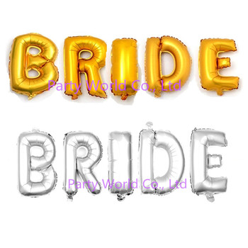 a4cd95e6cfdf 16 pulgadas plata oro novia letra Mylar Globos novia boda nupcial ducha  partido gallina proveedores partido decoración de la boda