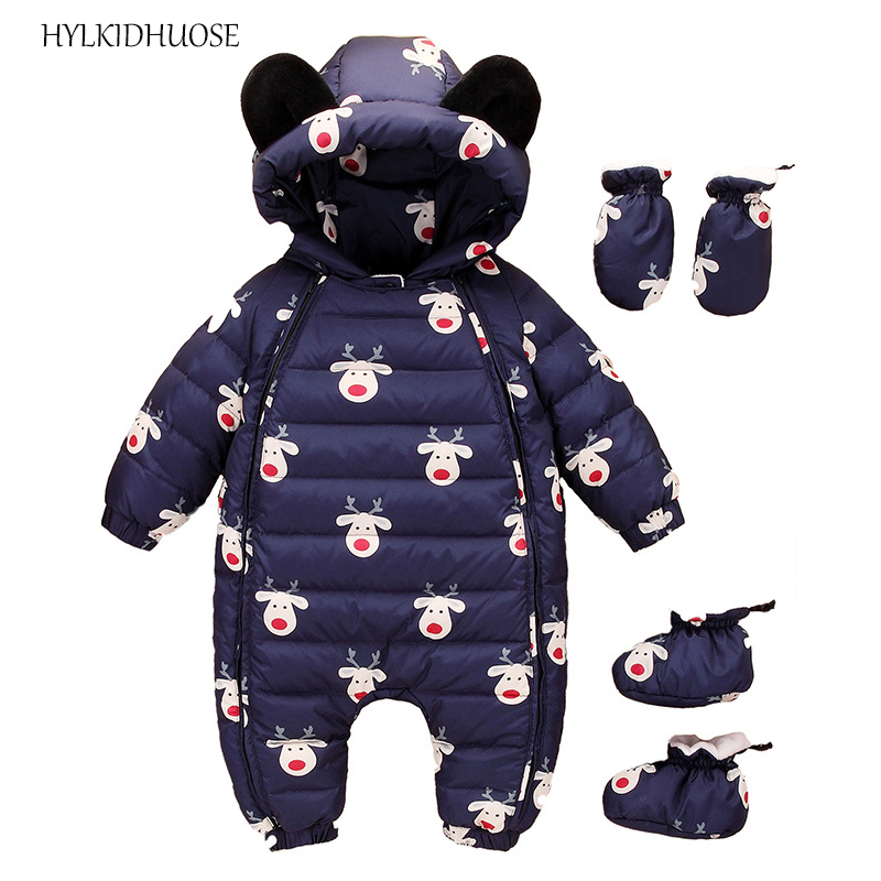 HYLKIDHUOSE 2017 Winter Infant/Newborn Rompers Baby Girls Boys Rompers Hooded Children Outdoor Windproof Thick Kids Jumpsuis