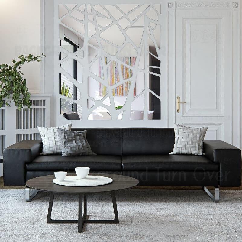 DIY mode creative tv fond abstrait flake 3d miroir plafond mur autocollant pour magasin restaurant décoration R125