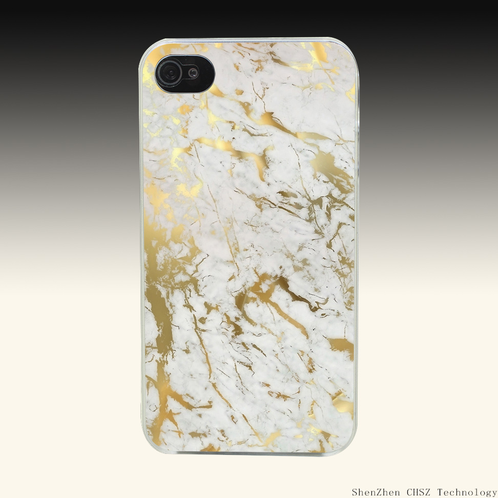490O Gold Marble Hard Clear Case Transparent Cover for iPhone 4 4s 5 5s SE 6 6s 7 Plus