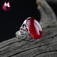 100% 925 Sterling Silver Ring Đối Với Phụ Nữ Fine Đá Quý của Phụ Nữ Trang Sức Hợp Thời Trang Ngọc Màu Đỏ Wedding Ring Hollow Khắc Hoa SR19
