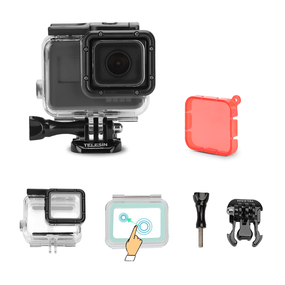 TELESIN 45M Underwater Housing Waterproof Case Shell + Touchable Backdoor Cover +Filter Cap for Gopro Hero5 6 Camera Accessories transparent plastic waterproof dive housing case underwater cover for sj4000 sports camera camera accessories
