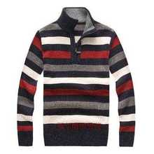 Mens Striped Sweater Half Zipper Pullover Plus Size S-3XL 2015 Stylish Winter Warm Thick Wool Sweaters For Men H6081