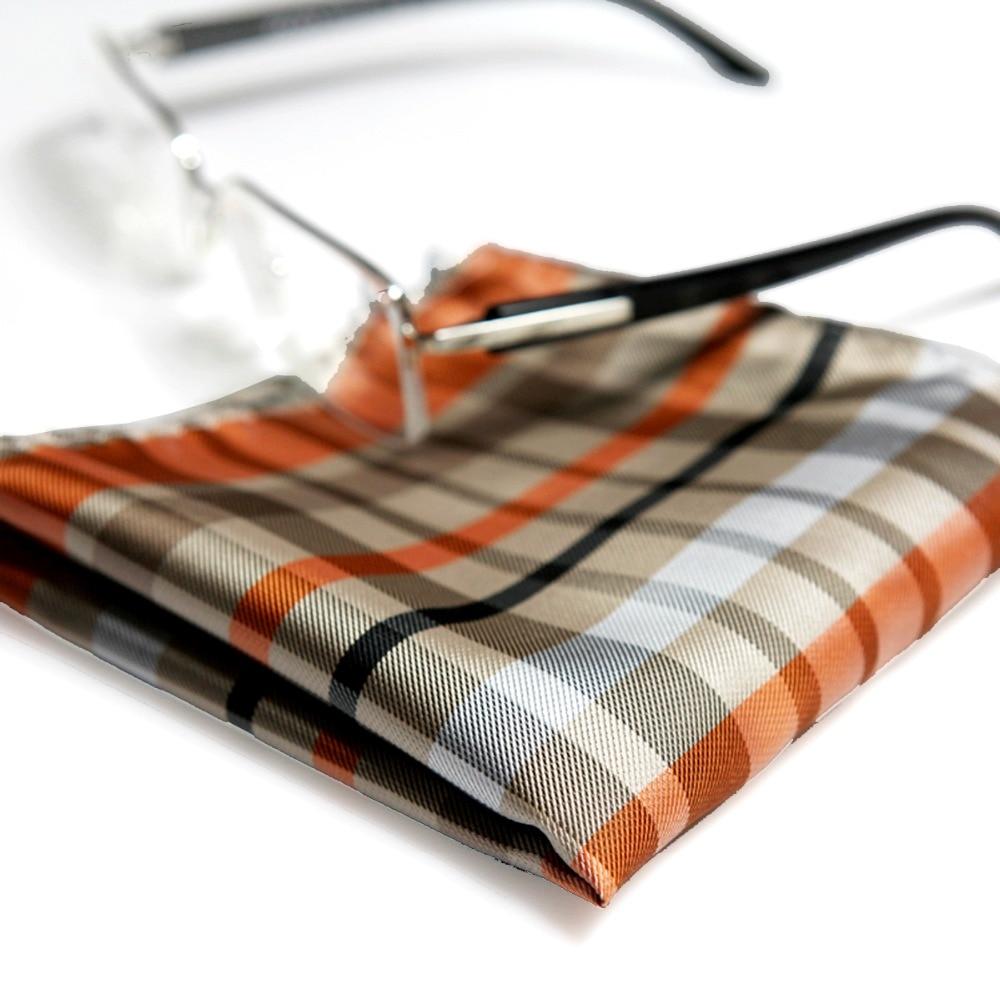 Checked Multicolor Khaki Beige Orange Blue White Black Gray Mens Pocket Square Silk Jacquard Woven Handkerchieves Wholesale