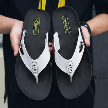 Male Leather Non-Slip Vintage Casual Gladiator Flip Flops