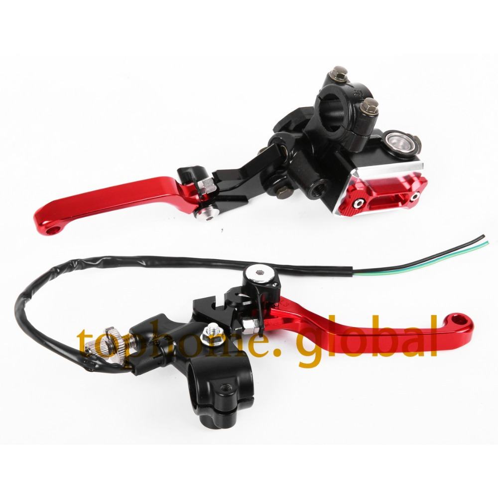 CNC 7/8 Brake Master Cylinder Pressure Switch Reservoir Levers Dirt Pit Bike Set Red For Honda CRF250R 2004 2005 2006 7 8 new cnc brake master cylinder pressure switch reservoir levers dirt pit bike set for yamaha yz125 250 2001 2005 2006 2007