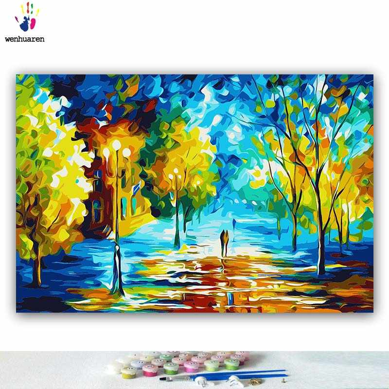 DIY colorings pictures by numbers with color Abstract night scene Abstract color picture drawing painting by numbers framed Home