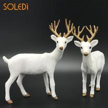 Рождественские куклы Белый Рождественский северный олень белый олень Лось плюшевые Новогодние рождественские украшения домашний подарок Прямая поставка